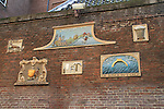 Artwork on the brick walls of Amsterdam University, Amsterdam, Netherlands