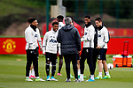 Manchester United manager Jose Mourinho talks with Marcus Rashford and Angel Gomez during the Manchester United training session at the Carrington Training Centre, Manchester. Picture date: May 19th 2017. <br /> Pic credit should read: Matt McNulty/Sportimage