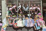 Shop window display of garden plastic birds and shopping bags, Woodbridge, Suffolk, England, UK