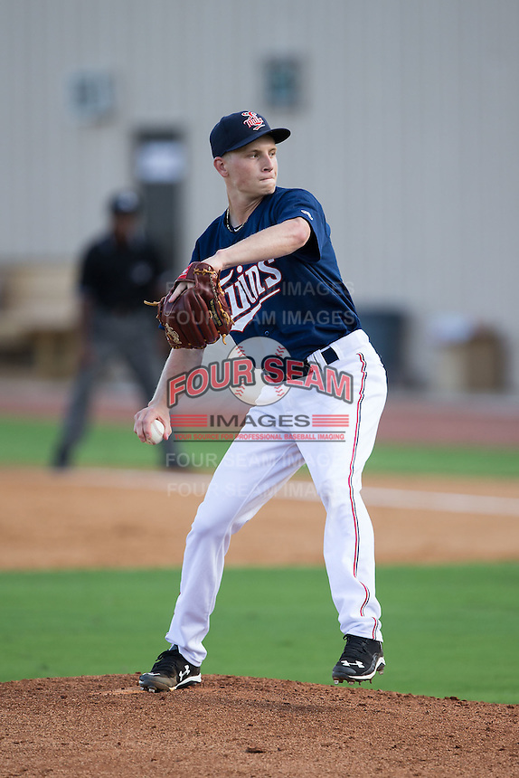 Elizabethton Twins starting pitcher Cody Stashak (18) in action against the Johnson City Cardinals at Joe O'Brien Field on July 11, 2015 in Elizabethton, Tennessee.  The Twins defeated the Cardinals 5-1. (Brian Westerholt/Four Seam Images)