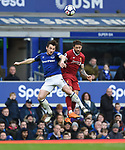 Leighton Baines of Everton is challenged by Danny Ings of Liverpool during the premier league match at Goodison Park Stadium, Liverpool. Picture date 7th April 2018. Picture credit should read: Robin Parker/Sportimage