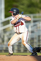 Greg Cullen (9) of the Danville Braves at bat against the Bristol Pirates at American Legion Post 325 Field on July 1, 2018 in Danville, Virginia. The Braves defeated the Pirates 3-2 in 10 innings. (Brian Westerholt/Four Seam Images)