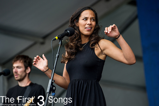 Amanda Sudano of Johnnyswim performs during the New Orleans Jazz & Heritage Festival in New Orleans, LA.