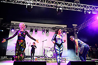 LONDON, ENGLAND - JUNE 3: Denise Post-Van Rijswijk, Kim Sasabone and Robin Pors of 'Vengaboys' performing at Mighty Hoopla at Brockwell Park, Brixton on June 3, 2018 in London<br /> CAP/MAR<br /> &copy;MAR/Capital Pictures