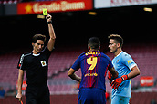 1st October 2017, Camp Nou, Barcelona, Spain; La Liga football, Barcelona versus Las Palmas; Luis Suarez of FC Barcelona received yellow card  as the game is played behind closed doors due to the riots in Barcelona during the Catalonia referendum