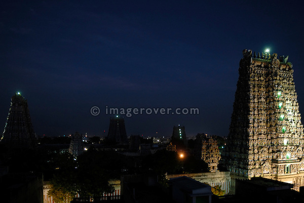 Sri Minakshi Temple in Madurai at night. India, Tamil Nadu, Madurai.