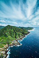 An aerial view of spectacular clouds over Koko Crater, East O'ahu.