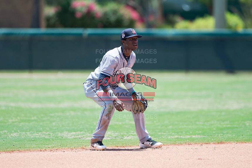 AZL Padres 2 shortstop Jordy Barley (55) during an Arizona League game against the AZL Dodgers at Camelback Ranch on July 4, 2018 in Glendale, Arizona. The AZL Dodgers defeated the AZL Padres 2 9-8. (Zachary Lucy/Four Seam Images)