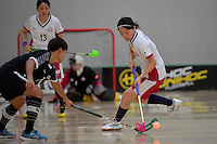 Japan&rsquo;s Eriko Chiba in action during the World Floorball Championships 2017 Qualification for Asia Oceania Region - Japan v Thailand at ASB Sports Centre , Wellington, New Zealand on Saturday 4 February 2017.<br /> Photo by Masanori Udagawa<br /> www.photowellington.photoshelter.com.