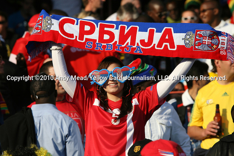 13 JUN 2010:  Serbia fan with scarf.  The Serbia National Team played the Ghana National Team at Loftus Versfeld Stadium in Tshwane/Pretoria, South Africa in a 2010 FIFA World Cup Group D match.