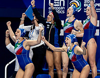 Italy celebrating goal<br /> <br /> Budapest 21/01/2020 Duna Arena <br /> Russia (white caps) Vs. Italy (blue caps) Quarter Final women<br /> XXXIV LEN European Water Polo Championships 2020<br /> Photo  Giorgio Scala / Deepbluemedia / Insidefoto