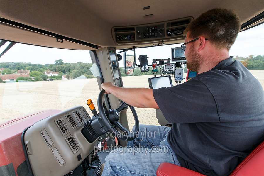 Cab view direct drilling oil seed rape - Essex, August