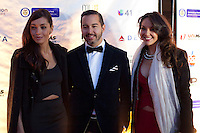 Colombian actress Carolina Gomez (r )  and Carolina Guerra (L) pose next to Daniel Gabrielle attend the opening of the Colombian Film Festival in New York . Photo by Eduardo Munoz Alvarez / VIEWpress.
