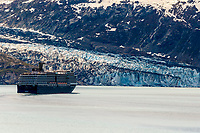 Holland America cruise ship Noordam with Lamplugh glacier and mountains in Glacier Bay National Park in Southeast, Alaska   <br /> (C) Jeff Schultz/SchultzPhoto.com