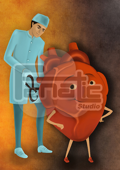 Biomedical illustration of surgeon whirling wind-up key of heart depicting heart treatment