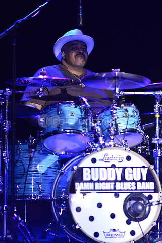 POMPANO BEACH, FL - APRIL 06: Tim Austin performs Live onstage with Buddy Guy at Pompano Beach Amphitheatre on April 6, 2017 in Pompano Beach, Florida. Credit: MPI10 / MediaPunch