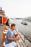 RUSSIA, Moscow. The roof restaurant at Bar Strelka which overlooks the Moscow River.