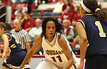 Jazmine Perkins (#11), Washington State University freshman standout, plays tough defense during the Cougars game against Montana State in Pullman, Washington, on November 23, 2008.  WSU defeated the Bobcats 78-66.