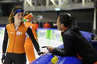 SCHAATSEN: HEERENVEEN: 31-01-2014,  IJsstadion Thialf, Training Topsport, Antoinette de Jong, Erik Bouwman (trainer/coach Jong Oranje), ©foto Martin de Jong
