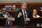 Nevada Assemblyman John Ellison, R-Elko, speaks on the Assembly floor at the Legislative Building in Carson City, Nev., on Friday, May 24, 2013. <br /> Photo by Cathleen Allison