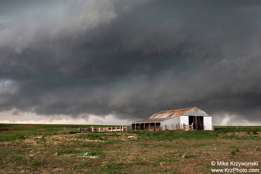 Green Severe Thunderstorm Clouds Above a Barn in Oklahoma on  April 26, 2013
