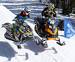 LEAD, S.D. -- April 5, 2014 -- Michael Hayworth #160 and Lance Nordstrom #120 battle in a heat race of the Pro Stock 800 class Saturday at the 2014 Lead-Deadwood Hill Cross Snowmobile Event at Ski Mystic Deer Mountain. (Photo by Dick Carlson/Inertia)