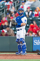 Omaha Storm Chasers catcher Nick Dini (8) during a Pacific Coast League game against the Memphis Redbirds on April 26, 2019 at Werner Park in Omaha, Nebraska. Memphis defeated Omaha 7-3. (Zachary Lucy/Four Seam Images)