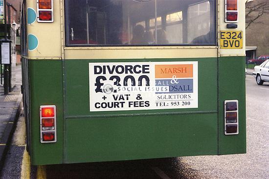 Bus displaying divorce advert,