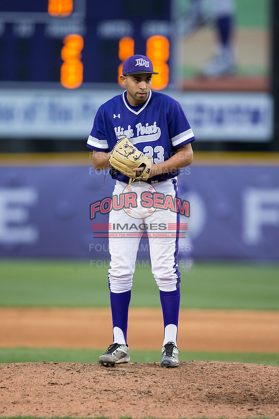 High Point Panthers relief pitcher Muhammed Eid (23) looks to his catcher for the sign against the NJIT Highlanders during game two of a double-header at Williard Stadium on February 18, 2017 in High Point, North Carolina.  The Highlanders defeated the Panthers 4-2.  (Brian Westerholt/Four Seam Images)