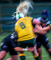 Victoria Latu is tackled during the 2017 International Women's Rugby Series rugby match between the NZ Black Ferns and Australia Wallaroos at Rugby Park in Christchurch, New Zealand on Tuesday, 13 June 2017. Photo: Dave Lintott / lintottphoto.co.nz
