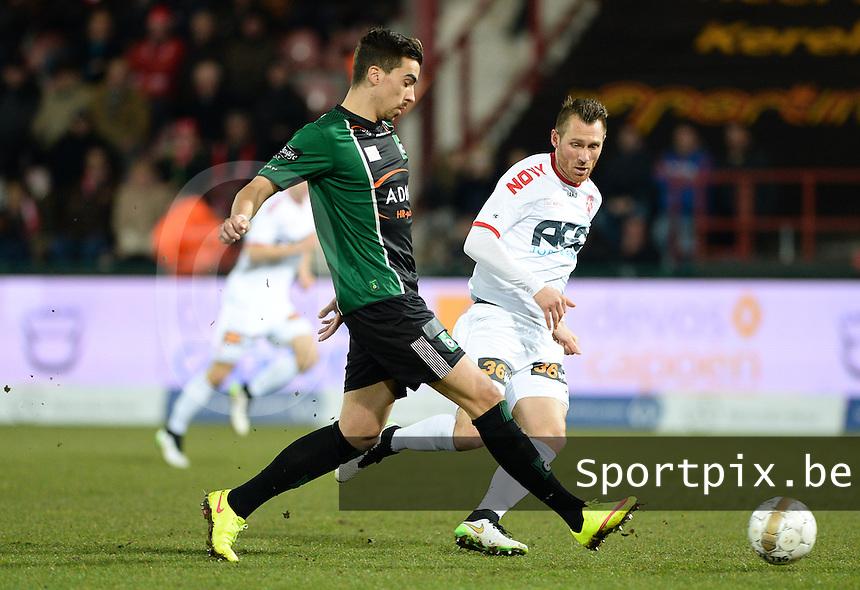 KV Kortrijk - Cercle Brugge : Noe Dussenne (links) aan de bal voor Teddy Chevalier (r)<br /> foto VDB / BART VANDENBROUCKE