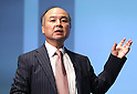 February 8, 2017, Tokyo, Japan - Japan's telecom giant Softbank group president Masayoshi Son announces the company's third quarter financial result ended December in Tokyo on Wednesday, February 8, 2017. Softbank's group net profit was up in the nine months from April from previous year to 857 billion yen (7.6 US dollars) thanks in part to improving performance by U.S. subsidiary Sprint. (Photo by Yoshio Tsunoda/AFLO)