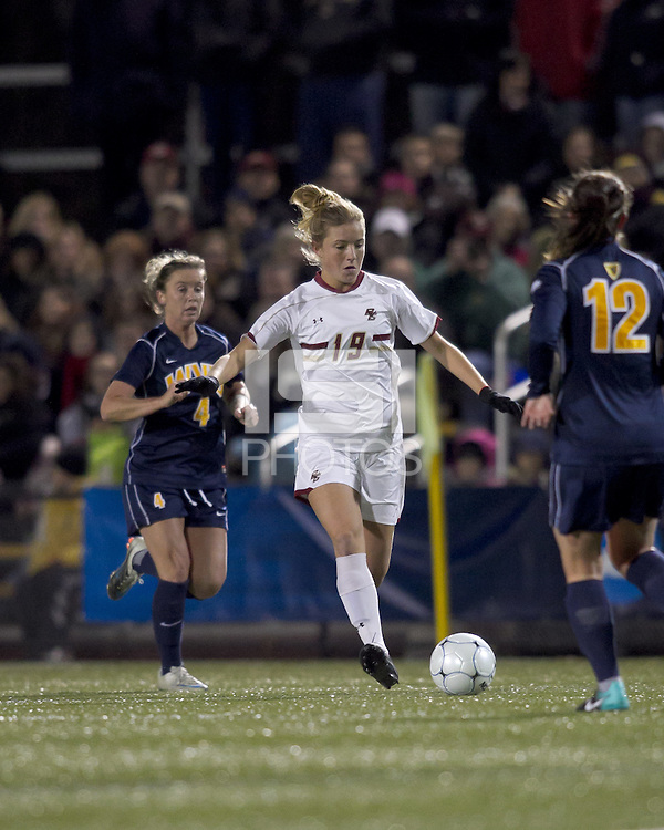 "Boston College forward Kristen Mewis (19) passes the ball. Boston College defeated West Virginia, 4-0, in NCAA tournament ""Sweet 16"" match at Newton Soccer Field, Newton, MA."