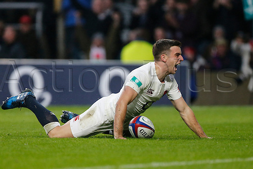 12.11.2016. Twickenham, London, England. Autumn International Rugby. England versus South Africa.  George Ford of England scores a try.   Final score: England 37-21 South Africa.