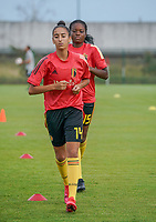 20200820 - TUBIZE , Belgium : Belgium's Rania Bouteibi pictured during the warm up before a friendly match between Belgian national women's youth soccer team called the Red Flames U17 and Union Saint-Ghislain Tetre , on the 20th of August 2020 in Tubize.  PHOTO: Sportpix.be | SEVIL OKTEM
