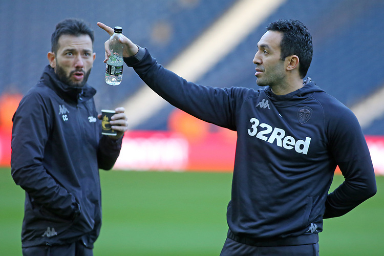 Leeds United Salim Lamrani and First Team Coach Carlos Corberan share a joke before kick off<br /> <br /> Photographer David Shipman/CameraSport<br /> <br /> The EFL Sky Bet Championship - West Bromwich Albion v Leeds United - Saturday 10th November 2018 - The Hawthorns - West Bromwich<br /> <br /> World Copyright © 2018 CameraSport. All rights reserved. 43 Linden Ave. Countesthorpe. Leicester. England. LE8 5PG - Tel: +44 (0) 116 277 4147 - admin@camerasport.com - www.camerasport.com