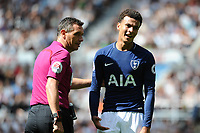 Dele Alli of Tottenham Hotspur complains to referee Andre Marrinerduring Newcastle United vs Tottenham Hotspur, Premier League Football at St. James' Park on 13th August 2017