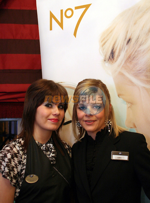Shauna Smith and Linda Moran, Beauty Consultants from Boots in the Laurence Centre were doing makeovers at the Daffodil Day Fashion Show in the Westcourt Hotel...Photo NEWSFILE/Jenny Matthews.(Photo credit should read Jenny Matthews/NEWSFILE)....This Picture has been sent you under the condtions enclosed by:.Newsfile Ltd..The Studio,.Millmount Abbey,.Drogheda,.Co Meath..Ireland..Tel: +353(0)41-9871240.Fax: +353(0)41-9871260.GSM: +353(0)86-2500958.email: pictures@newsfile.ie.www.newsfile.ie.FTP: 193.120.102.198.