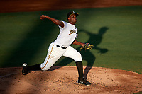 Bradenton Marauders starting pitcher Pedro Vasquez (14) delivers a pitch during a game against the Clearwater Threshers on July 24, 2017 at LECOM Park in Bradenton, Florida.  Bradenton defeated Clearwater 6-3  (Mike Janes/Four Seam Images)