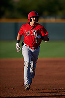 AZL Angels Justin Kunz (10) rounds the bases after hitting a home run during an Arizona League game against the AZL D-backs on July 20, 2019 at Salt River Fields at Talking Stick in Scottsdale, Arizona. The AZL Angels defeated the AZL D-backs 11-4. (Zachary Lucy/Four Seam Images)