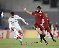 Football Soccer: UEFA Champions League AS Roma vs Chelsea Stadio Olimpico Rome, Italy, October 31, 2017. <br /> Chelsea's Alvaro Morata (l) in action with Roma's Federico Fazio (r) during the Uefa Champions League football soccer match between AS Roma and Chelsea at Rome's Olympic stadium, October 31, 2017.<br /> UPDATE IMAGES PRESS/Isabella Bonotto