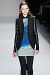 Hanna Samokhina walks the runway in a Nicole Miller Fall 2011 outfit, during Mercedes-Benz Fashion Week.