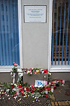 """155 Hauptstrasse, Schöneberg, Berlin, Germany. 11th January 2018.  Two years after David Bowie's death, fans in Berlin keep the British musician's fame alive with lit candles, flowers and messages of appreciation. The shrine has been made outside the building he shared with Iggy Pop in the late 1970s. In the three years Bowie lived in West Berlin he recorded the """"Berlin Trilogy"""", Low (1977), Heroes (1977), and Lodger (1979).   // Lee Thomas, Tel. 07784142973. Email: leepthomas@gmail.com  www.leept.co.uk (0000635435)"""