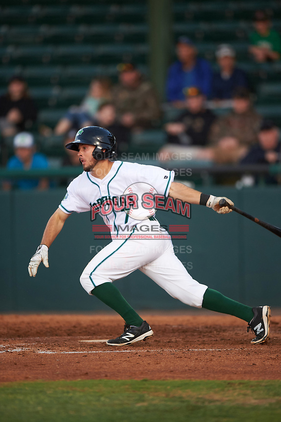 Daytona Tortugas shortstop Blake Trahan (7) at bat during a game against the Fort Myers Miracle on April 17, 2016 at Jackie Robinson Ballpark in Daytona, Florida.  Fort Myers defeated Daytona 9-0.  (Mike Janes/Four Seam Images)