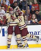 Bill Arnold (BC - 24), Johnny Gaudreau (BC - 13) - The Boston College Eagles defeated the Northeastern University Huskies 7-1 in the opening round of the 2012 Beanpot on Monday, February 6, 2012, at TD Garden in Boston, Massachusetts.