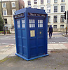 Dr Who seen leaving The Tardis for the last time and disappearing up the Camden Road.<br />