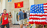AUG. 12, 2012 - OCEANSIDE, NEW YORK U.S. - GREG BUCKLEY, SR, at left, is with family and friends of his son Lance Corporal Greg Buckley, Jr, the 21-year-old Marine from Long Island killed in Afghanistan 3 days earlier.