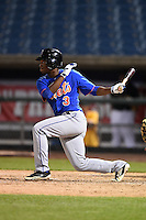 Calvin Newsome (3) of Columbia High School in Columbia, Mississippi playing for the New York Mets scout team during the East Coast Pro Showcase on July 31, 2014 at NBT Bank Stadium in Syracuse, New York.  (Mike Janes/Four Seam Images)