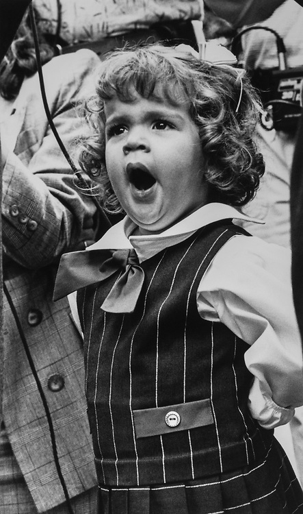 Patricia (3), daughter of Rep. Ileana Ros-Lehtinen, R-Fla., standing by her mother's side while Ileana is being interviewed after her swearing-in ceremony, Sep. 7, 1989. (Photo by Maureen Keating/CQ Roll Call via Getty Images)