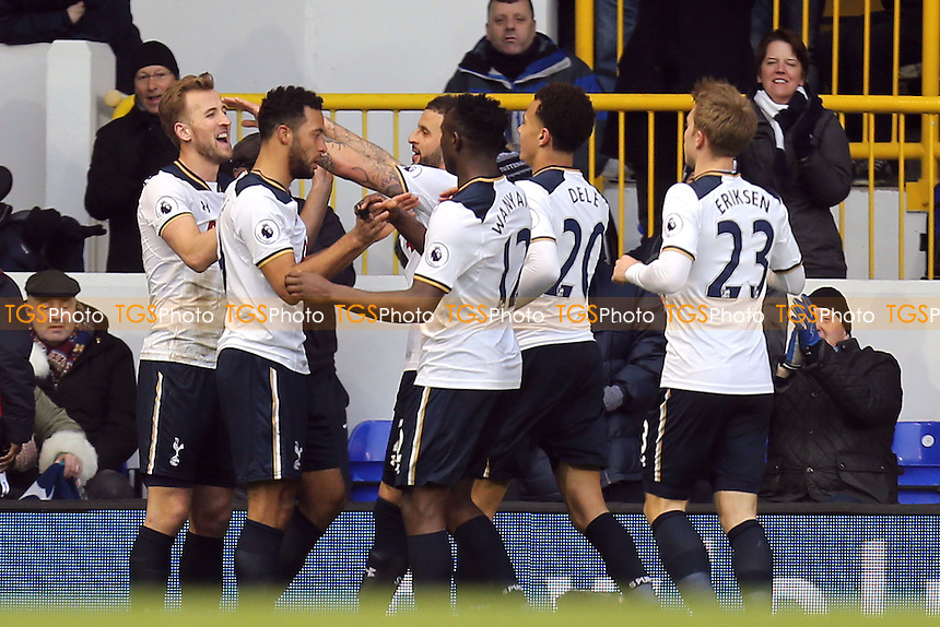 Harry Kane of Tottenham Hotspur is congratulated after scoring the second goal during Tottenham Hotspur vs Everton, Premier League Football at White Hart Lane on 5th March 2017